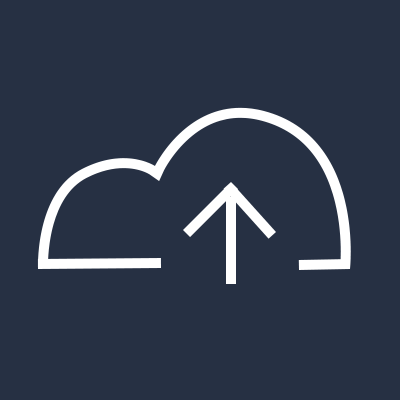 Cloud symbol with overlapping up arrow